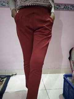 Celana kulot panjang merah