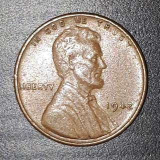Old Coin Collection :  USA Lincoln  Year 1942 Penny
