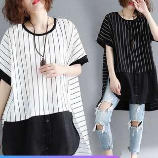 Plus size Loose T Shirt Short Sleeve Long Striped