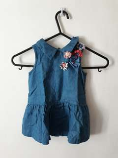 Gingersnaps Tiny Denim dress with flower accents