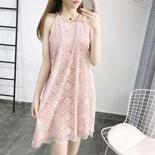 🚚 OshareGirl 05 歐美女士純色蕾絲連身裙洋裝背心式洋裝