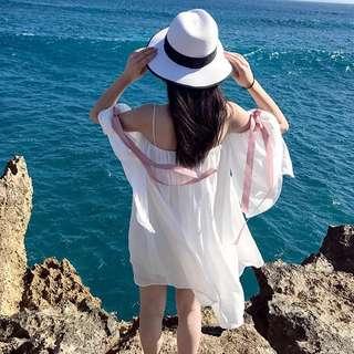 一字領雪紡蝴蝶結沙灘渡假洋裝