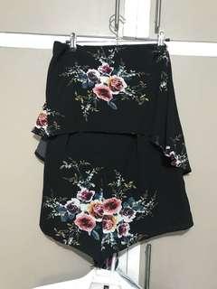 Floral Tube Romper Shorts