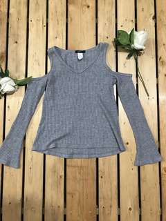 FOREVER 21 Knitted Cold Off Shoulder Gray