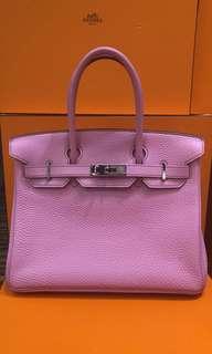 正品 95%新 Hermes Birkin 30 5P 粉紅色銀扣手挽袋 絕版色哦😍