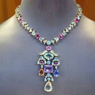 Ceylon natural Mix sapphire necklace with diamonds and white gold