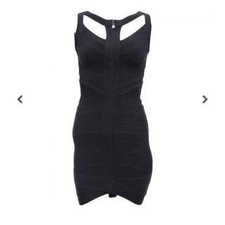 HERVE LEGER DRESS CUT OUT BLACK