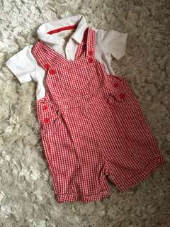 Baby red checked set