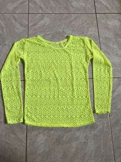 NEON YELLOW LACE LONG SLEEVES TOP