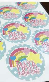 Rainbow stars birthday party stickers labels customised