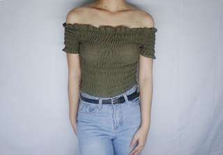 Army green smocked off shoulder