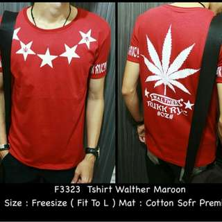 F3323 Tshirt Walter maroon    Cotton soft premium fit L