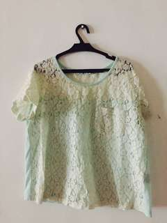 Mint Green Floral Lace Blouse
