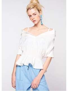 🚚 OshareGirl 05 歐美女士甜美露肩一字領束腰五分袖襯衫上衣