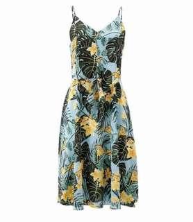🚚 OshareGirl 05 歐美女士雙V領緞面印花連身裙連身洋裝