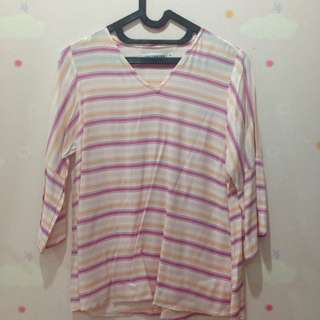 multicolor meester v-neck striped top with flounced cuffs