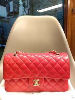 Chanel Medium red lambskin GHW #18
