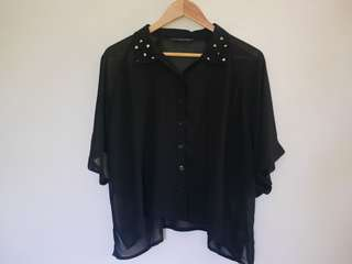 Oxygen Studded Sheer Black Blouse