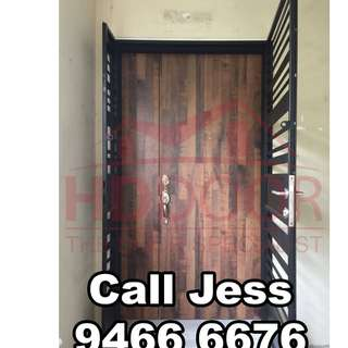 HDDOOR solid wooden main door and gate with one key open