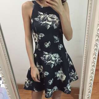 A&F復古花朵太空棉背心裙Abercrombie & Fitch floral skater dress Hollister HCO