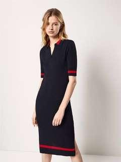 🚚 OshareGirl 05 西班牙單女士撞色翻領側開衩針織短袖連身洋裝連身裙