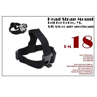 Head Strap Mount Belt For GoPro, YI, SJCAM or any sportscam