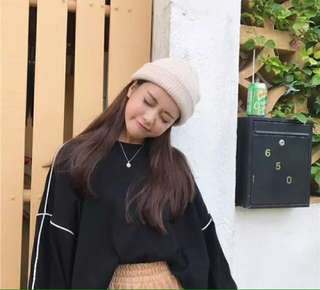 🚚 韓系毛線帽毛帽杏色