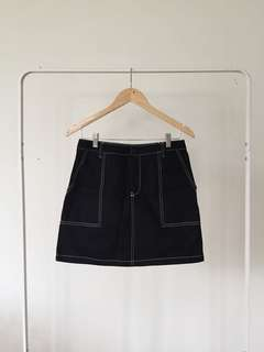 H&M Black Skirt with White Details