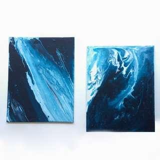 Abstract Fluid Acrylic Painting on Canvas