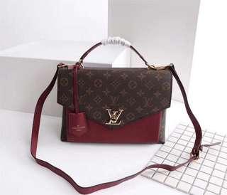 LV My Lockme Bag in Mono/Maroon