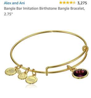 Alex and Ani Birthstone Bracelet for Feb - Purple Charm in color
