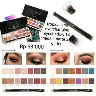 (PO) Tropical and Everchanging eyeshadow Focallure 14 shades matte and glitter