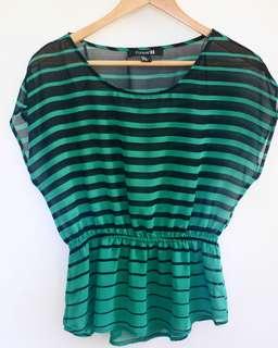 Forever 21 Stripes Sheer Blouse