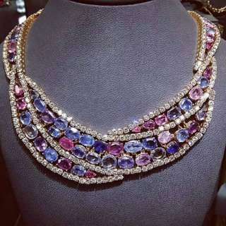 Mix sapphires Necklace with white sapphires