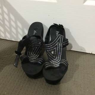 swarovski crystal high heel wedges size 8