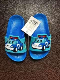 🚚 全新POLI兒童拖鞋藍色閃電麥坤深藍色