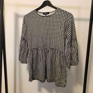 Checkered Peplum Top