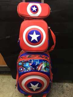 Captain America and Spiderman 3-in-1 set Trolley bag