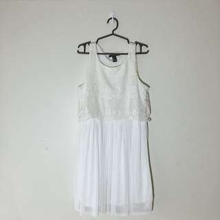 F21 White/off white lacy dress