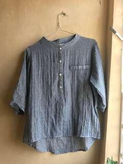 basic blue cotton/linen blouse