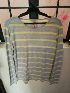 (REPRICED) Long Sleeves Stripes // Gray and Yellow