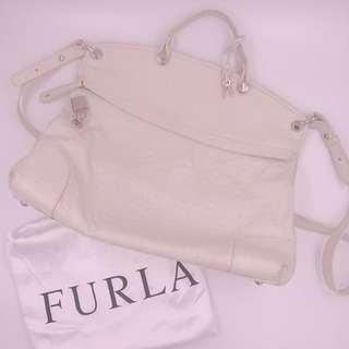 Authentic Furla White/Beige Leather Bag
