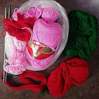 Partially Used Yarn & Knitting Sticks