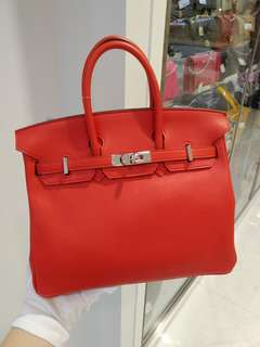 Hermes birkin 25 X stamp rough tomato
