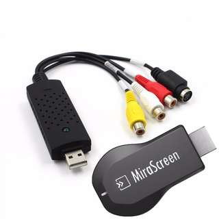 MiraScreen WiFi Display Receiver 1080p Video HD TV Dongle DLNA Airplay Miracast HDMI Adapter + USB Video Audio VHS to DVD Converter Video Capture Card
