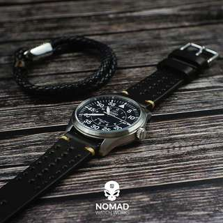 🚚 Premium Rally Leather Watch Strap in Black
