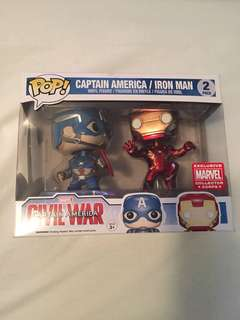 Pop vinyl marvel collector corps captain America and iron man