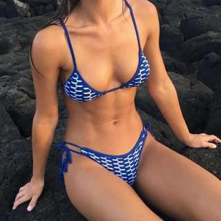 CALI Blue & White Pattern Two Piece Swimsuit