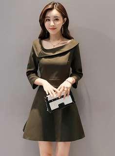Long-Sleeve: Green Korean Doll Collar Slim Long Sleeve A-Line Dress (S / M / L) - OA/KKD083104