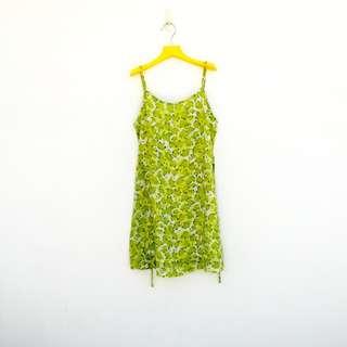 🚚 二手 騷短 低胸 綠白 印花 微彈性 洋裝 明太子 530